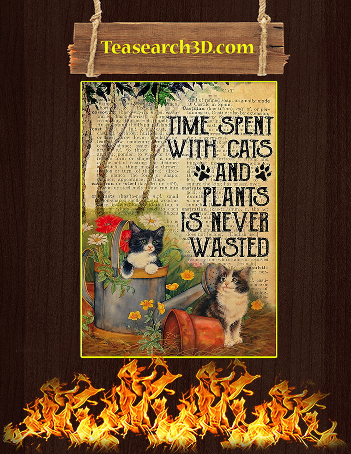 Time spent with cats and plants dictionary poster A3