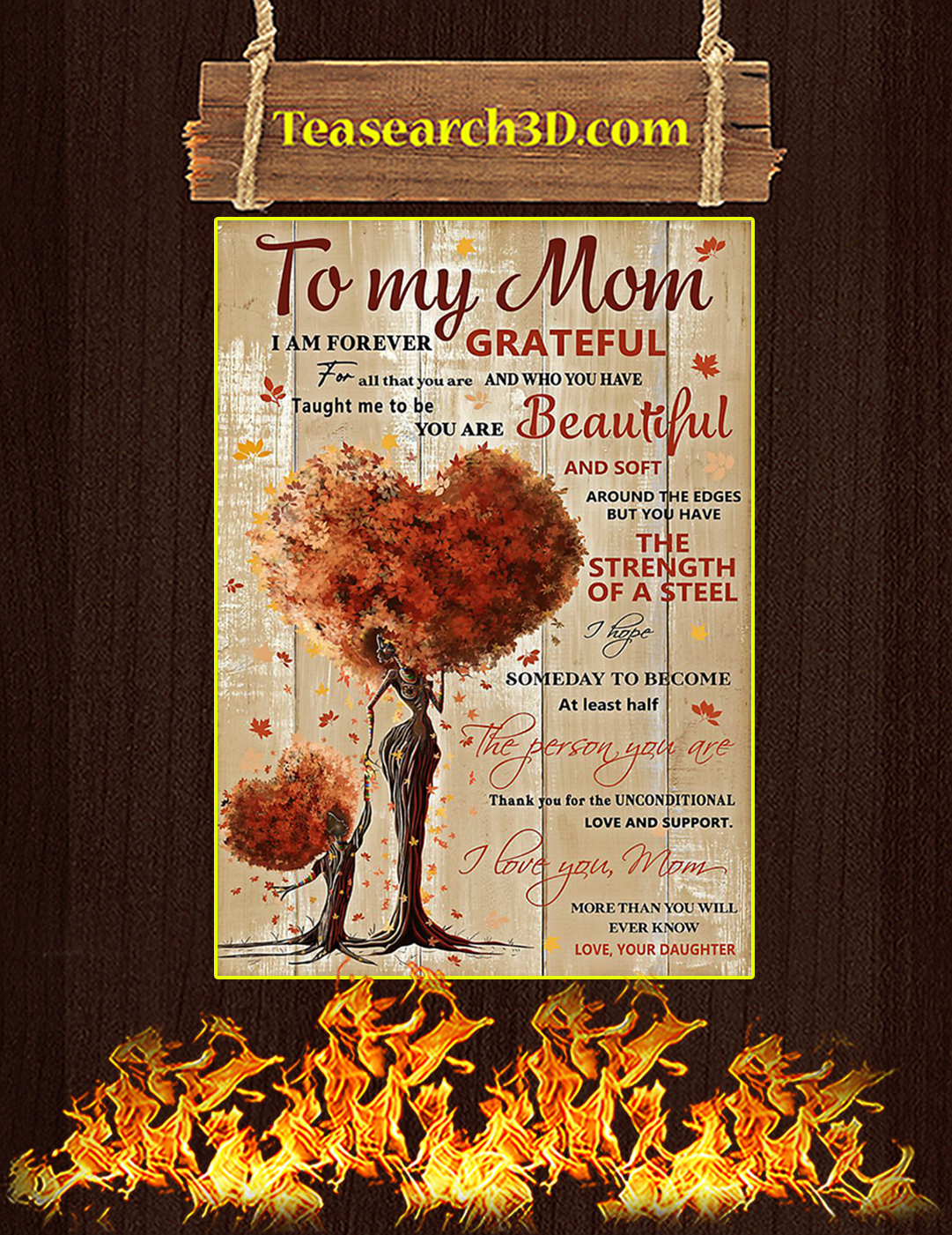 To my mom I'm forever grateful daughter poster A2