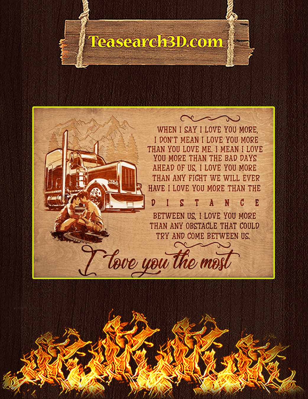 Trucker I love you the most poster A1