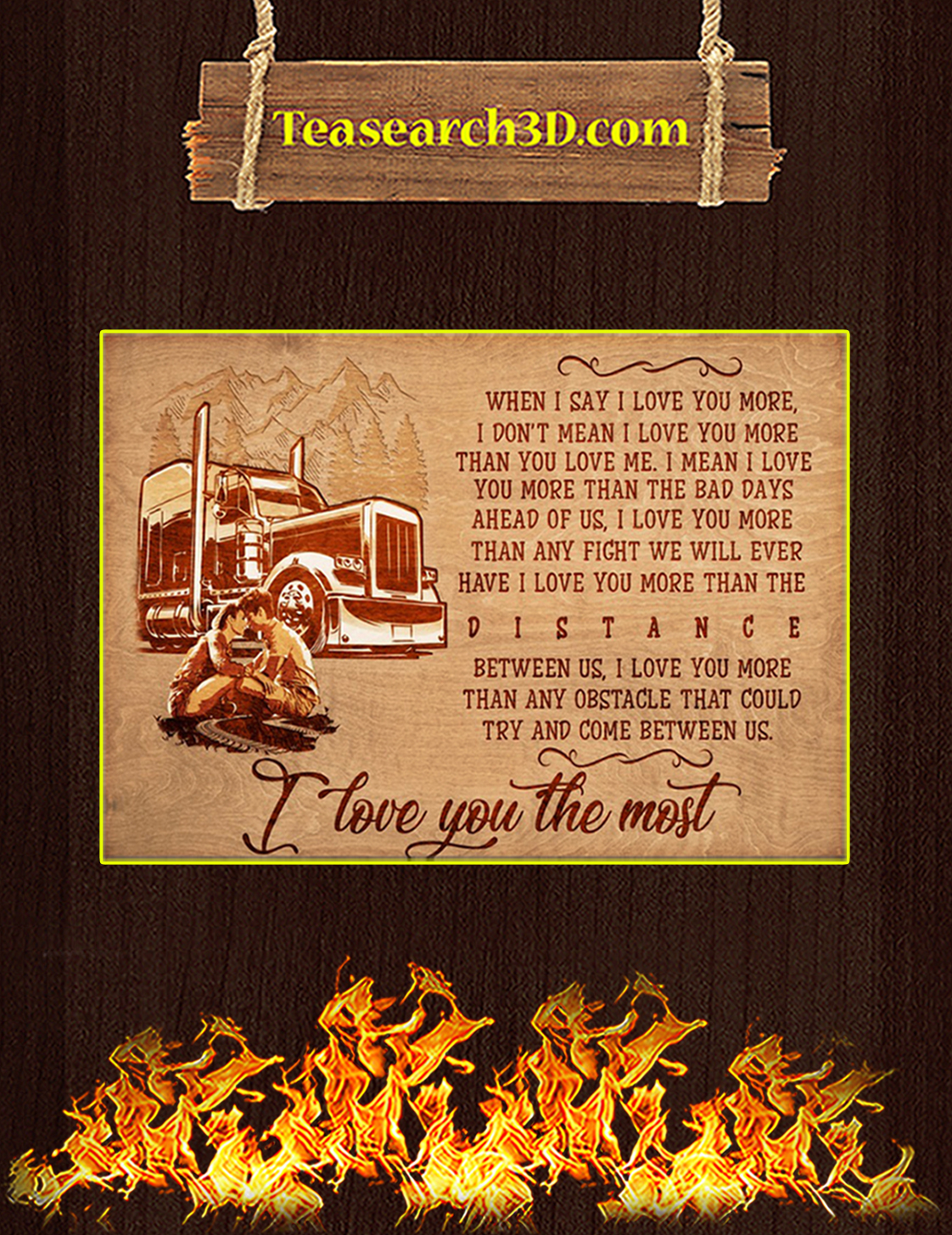 Trucker I love you the most poster A3