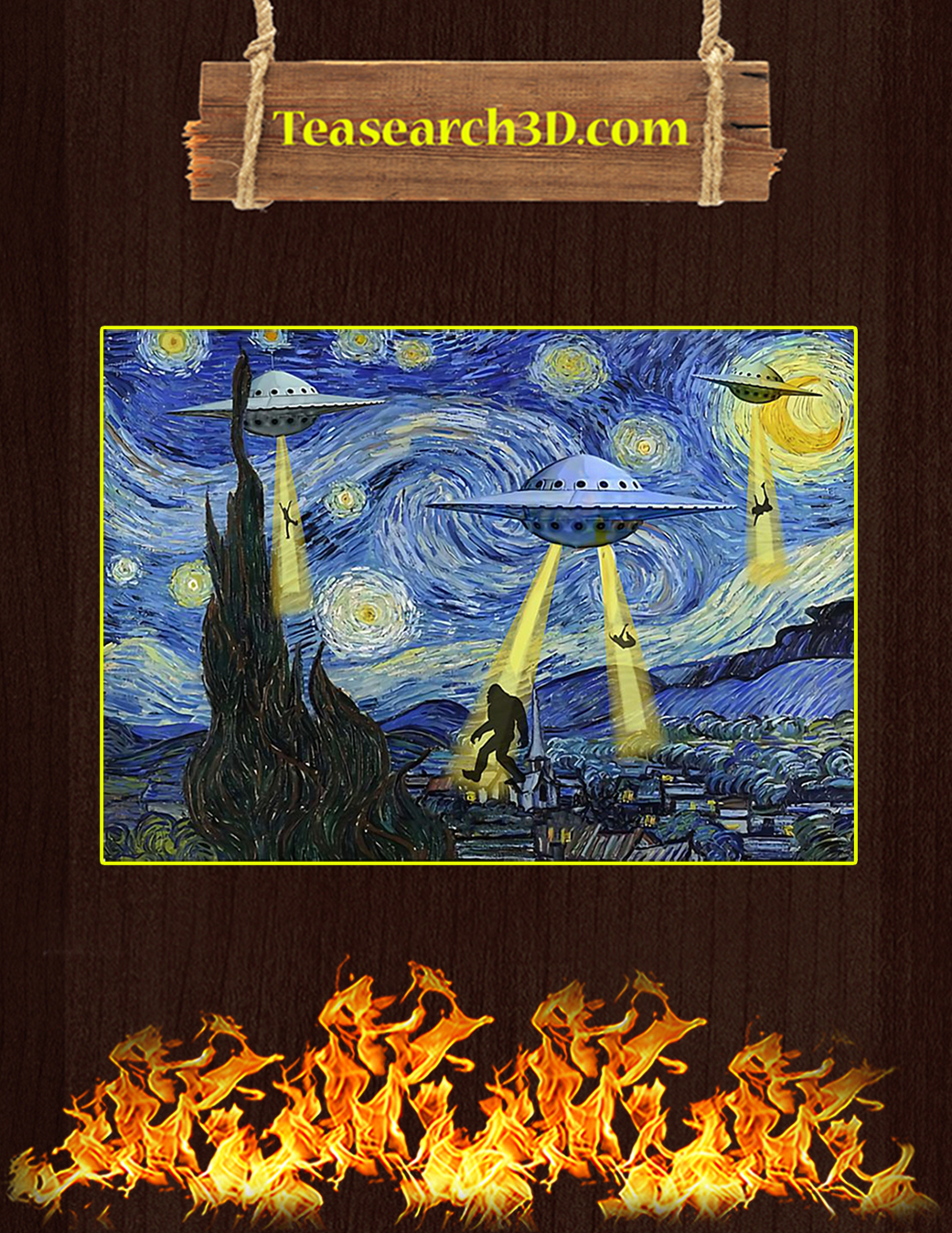 Ufo sighting starry night van gogh poster A1