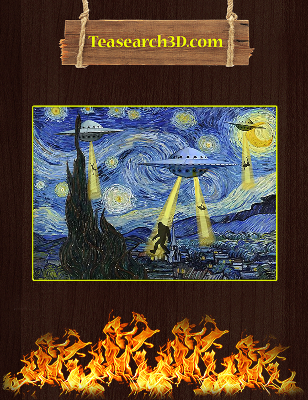 Ufo sighting starry night van gogh poster A2