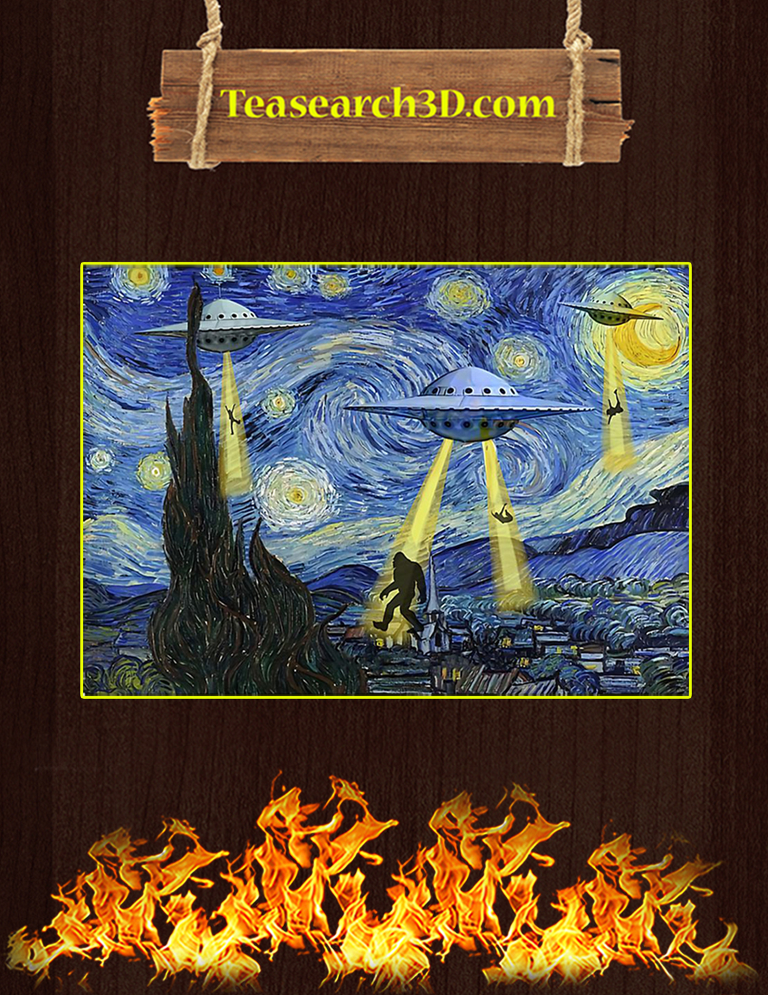 Ufo sighting starry night van gogh poster A3