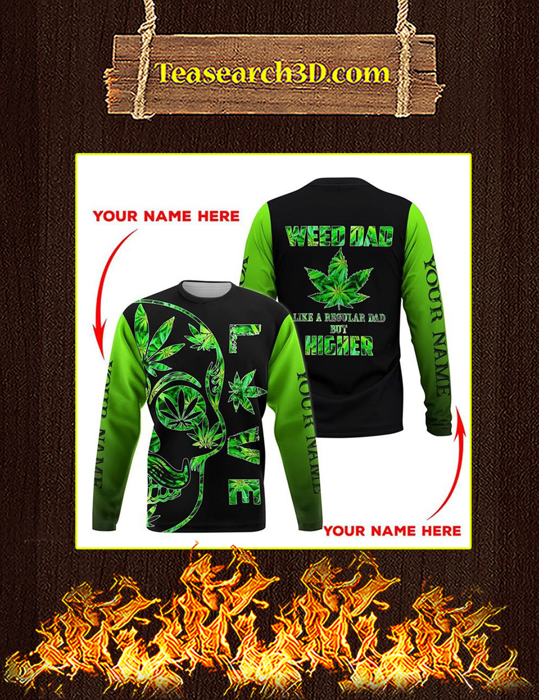 Weed dad personalized custome name 3d all over print sweatshirt