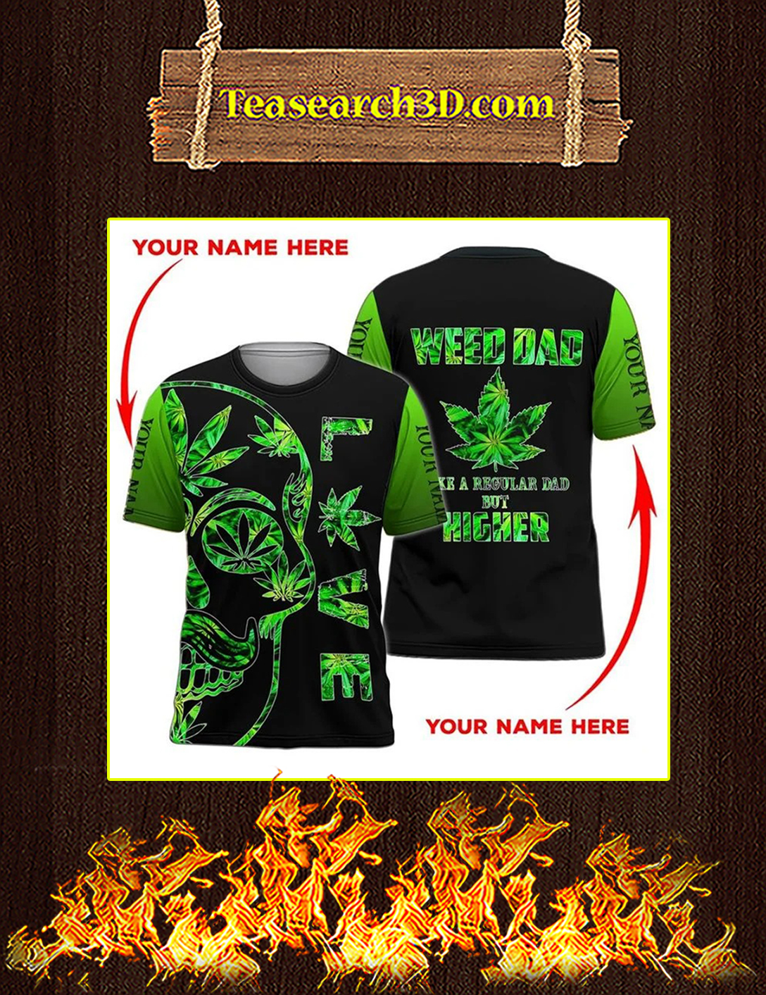Weed dad personalized custome name 3d all over print t-shirt