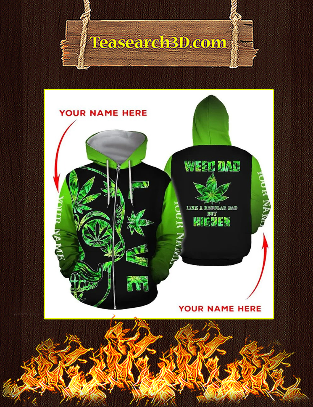 Weed dad personalized custome name 3d all over print zip hoodie