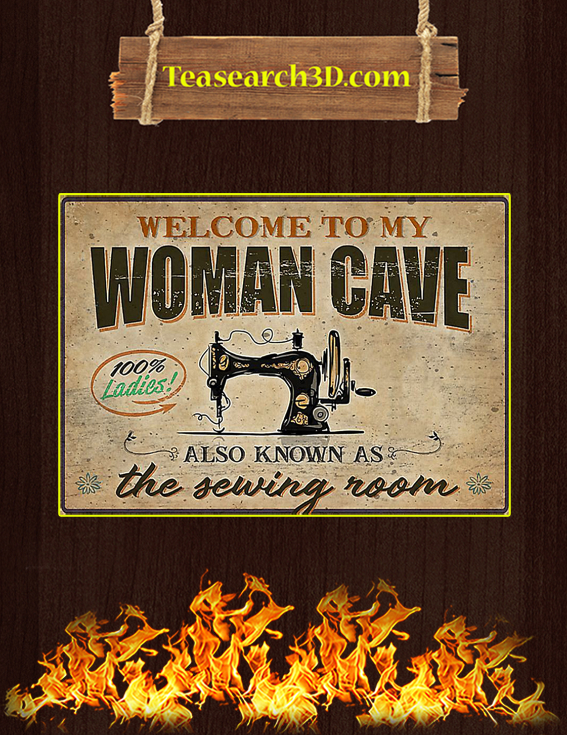 Welcome to my woman cave the sewing room poster A3
