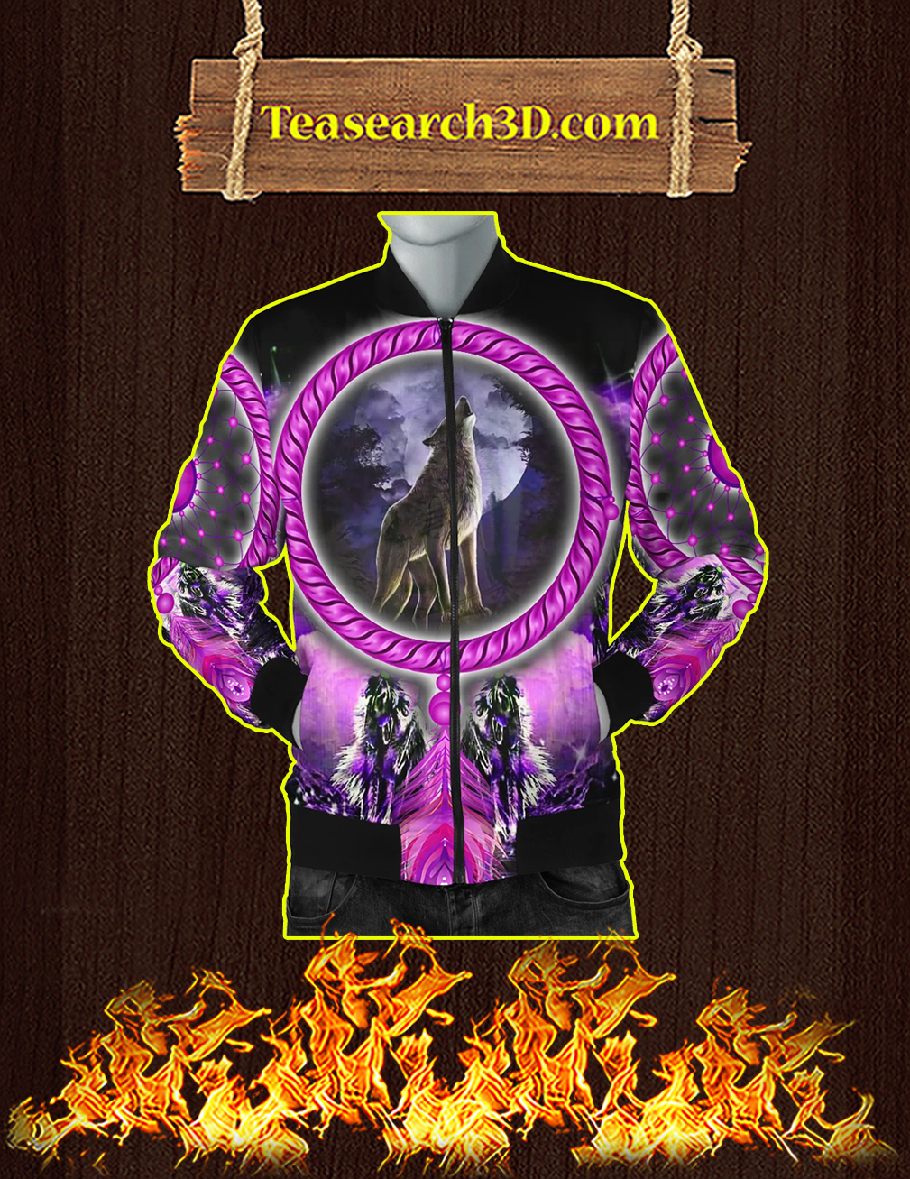 Wolf dreamcatcher violet 3D All over print bomber