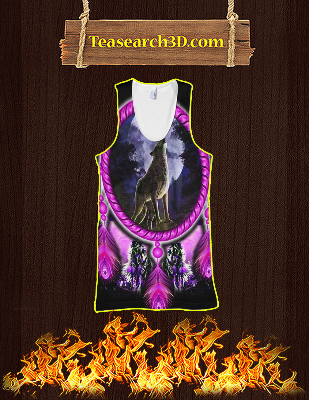 Wolf dreamcatcher violet 3D All over print tank top