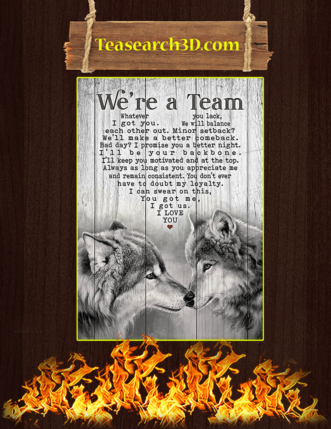 Wolf we are a team poster A3