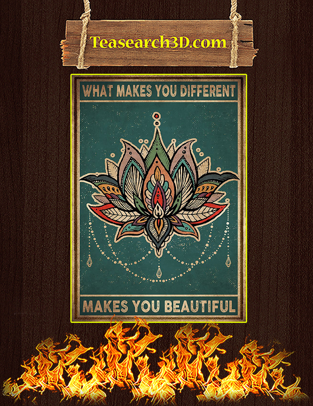 Yoga Lotus What makes you different makes you beautiful poster A1