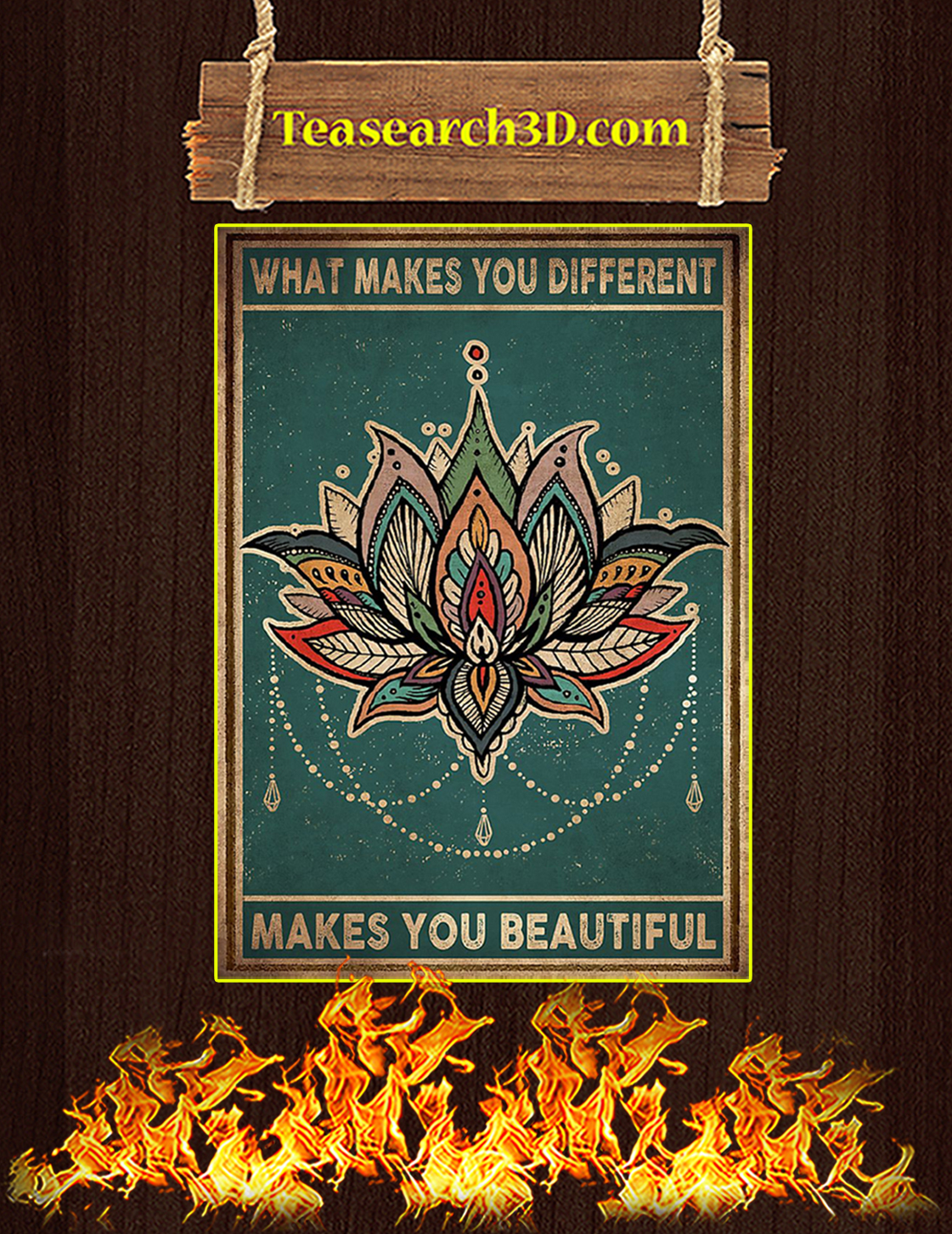 Yoga Lotus What makes you different makes you beautiful poster A3