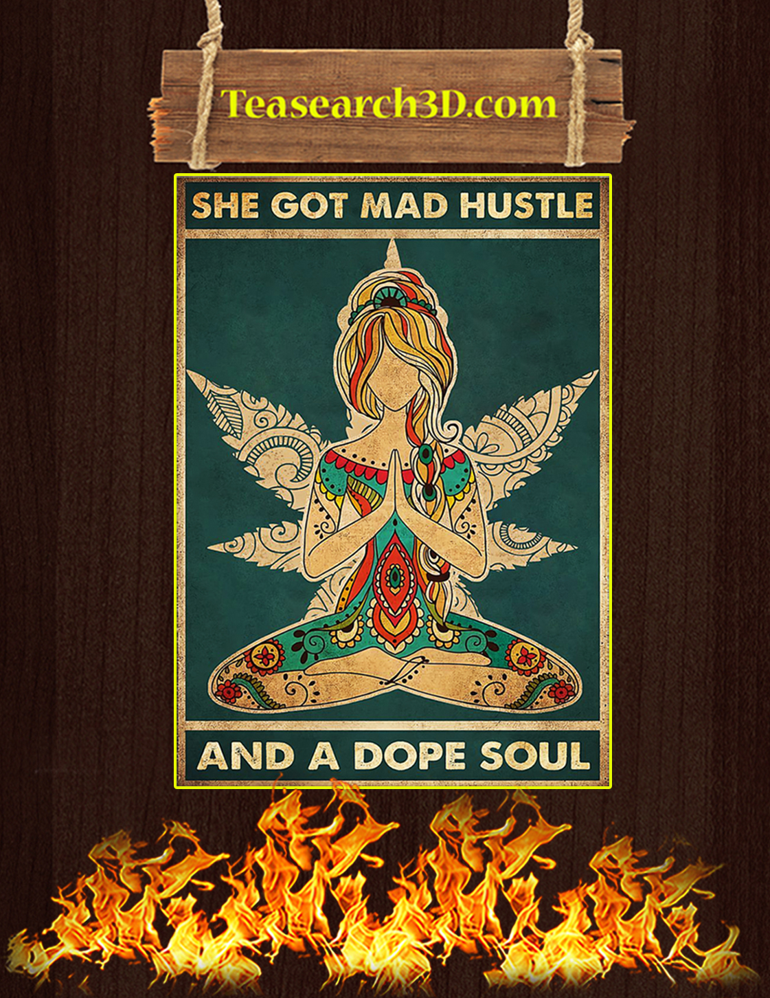Yoga She got mad hustle and a dope soul poster A3