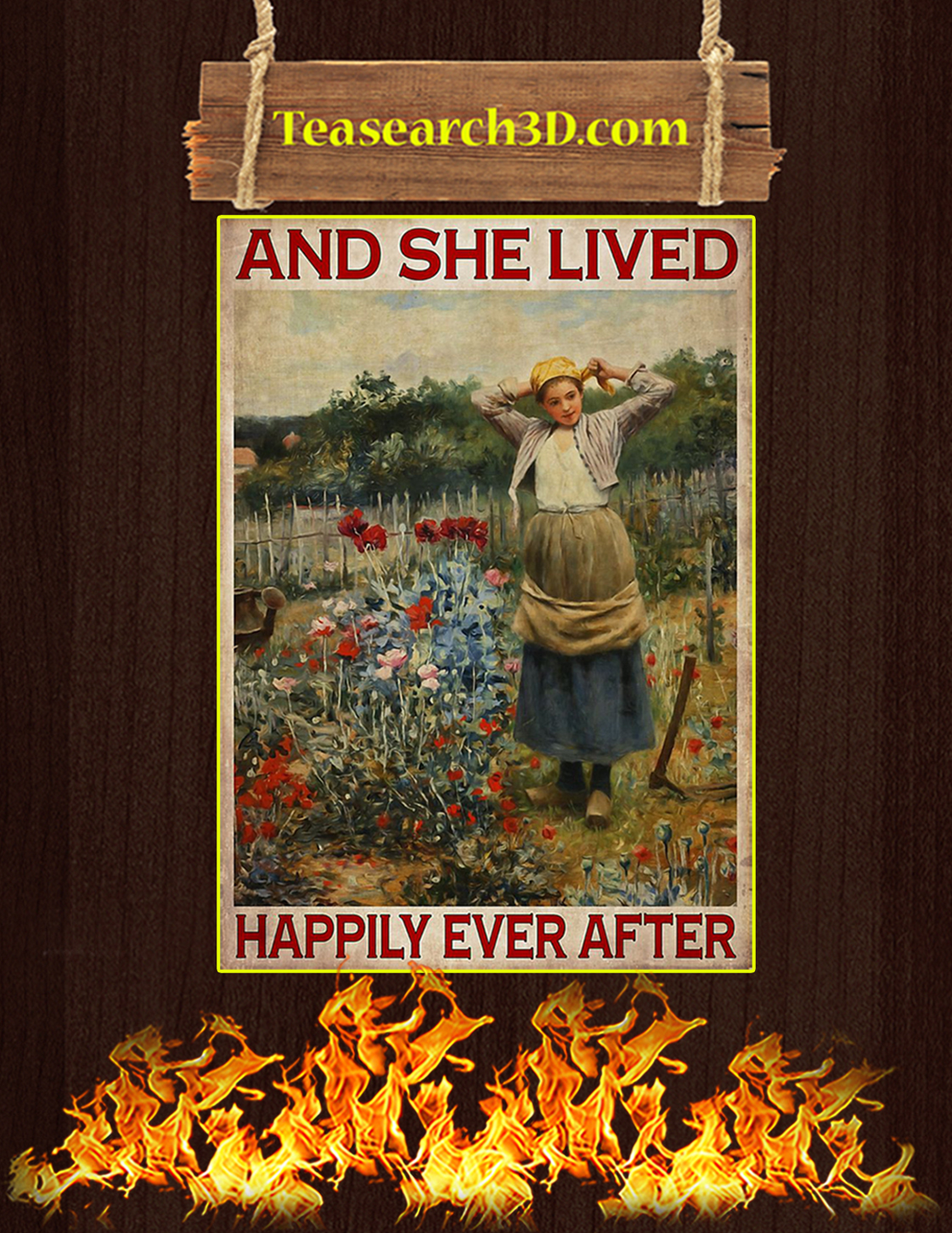 And she lived happily ever after gardening poster A3