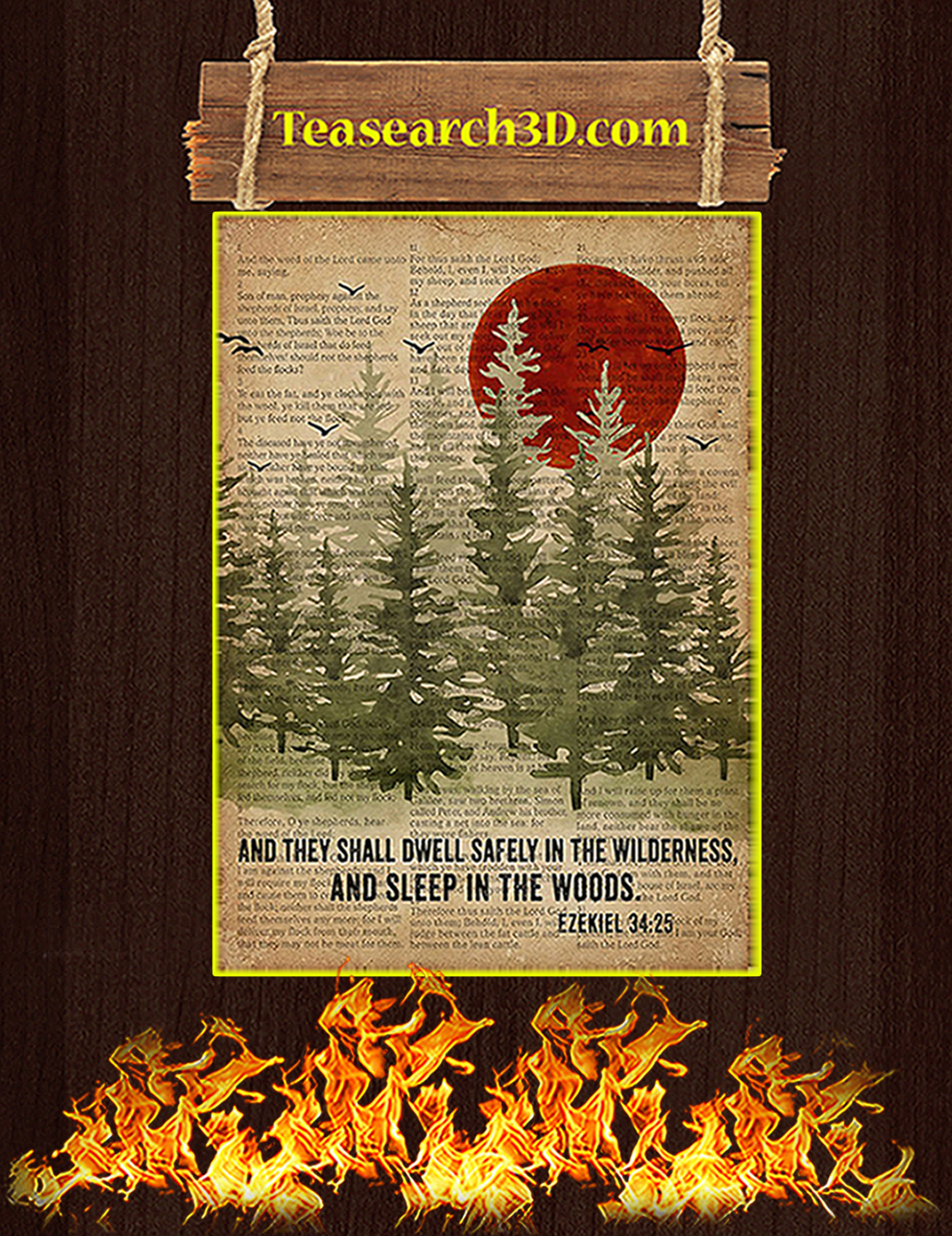 And they shall dwell safety in the wilderness and sleep in the woods poster A3
