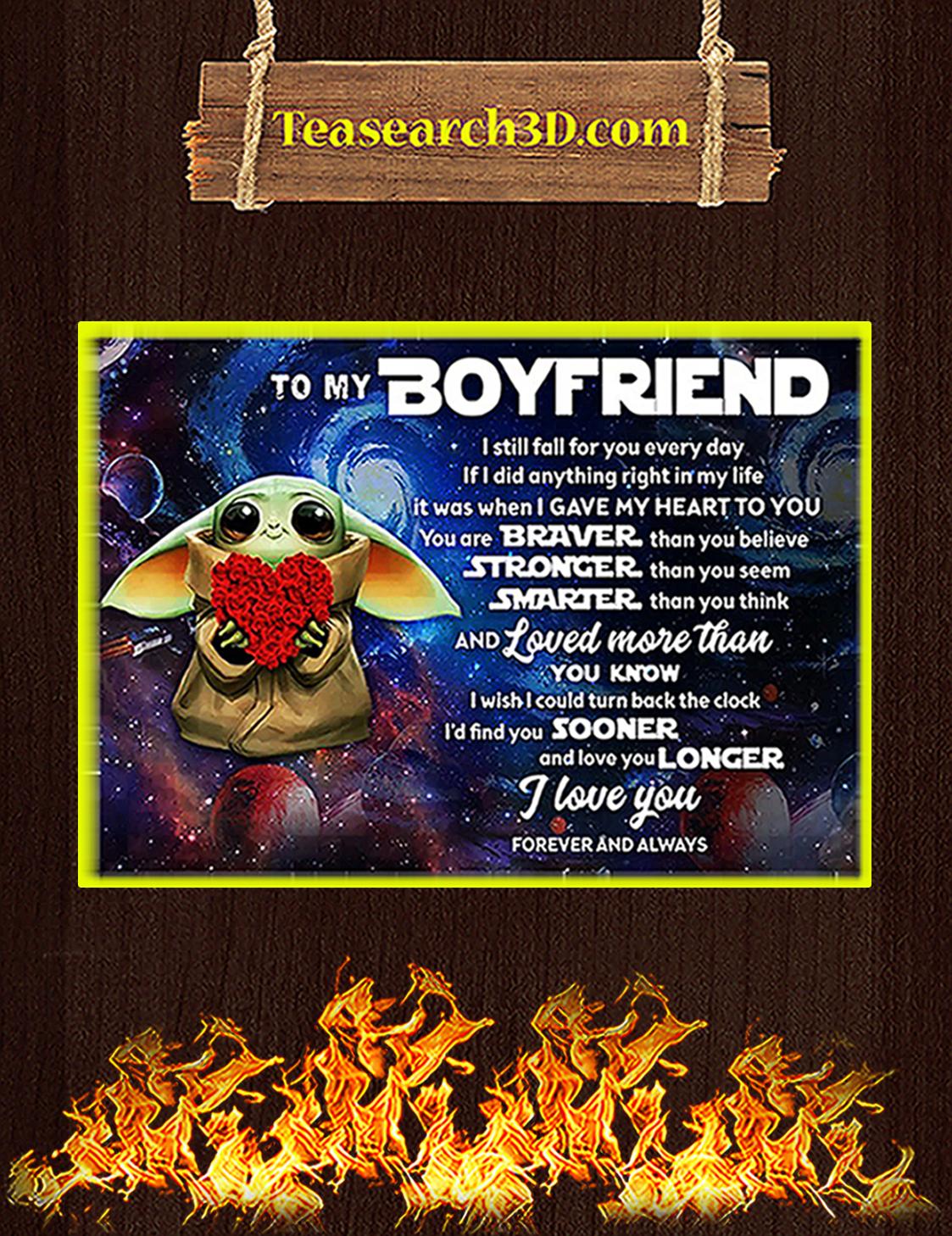 Baby yoda to my boyfriend poster A3