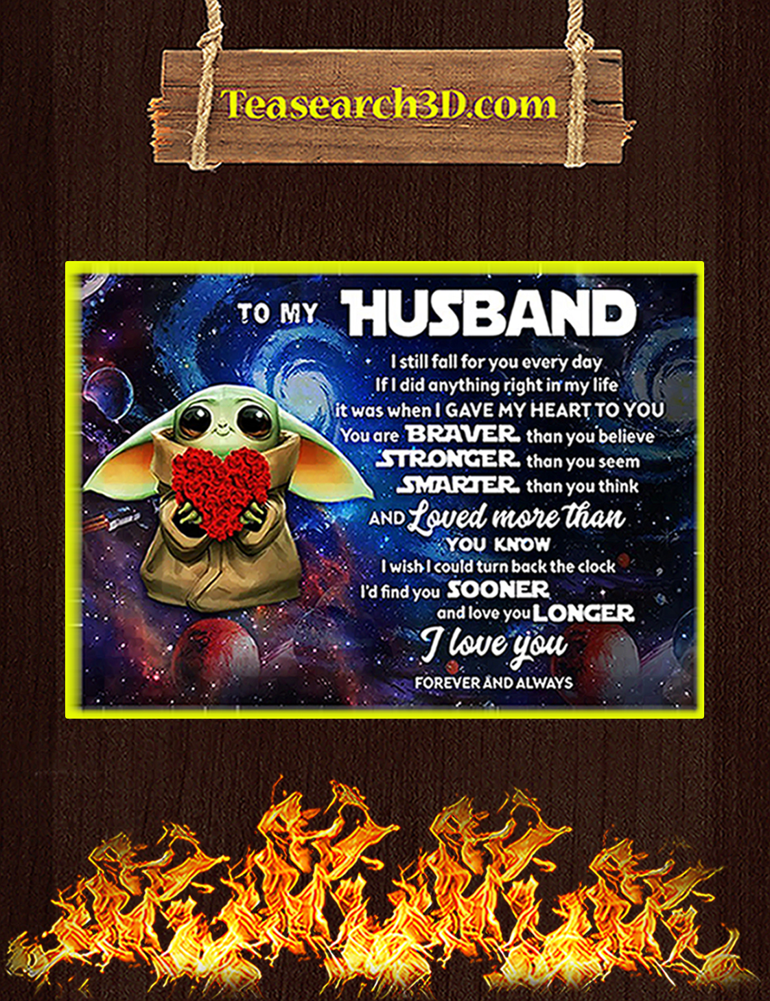 Baby yoda to my husband poster A3