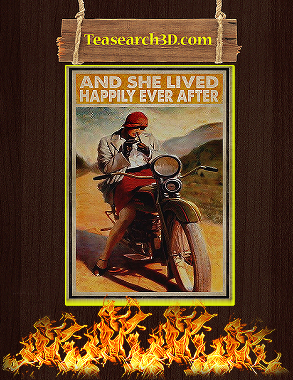 Biker and she lived happily ever after poster A3