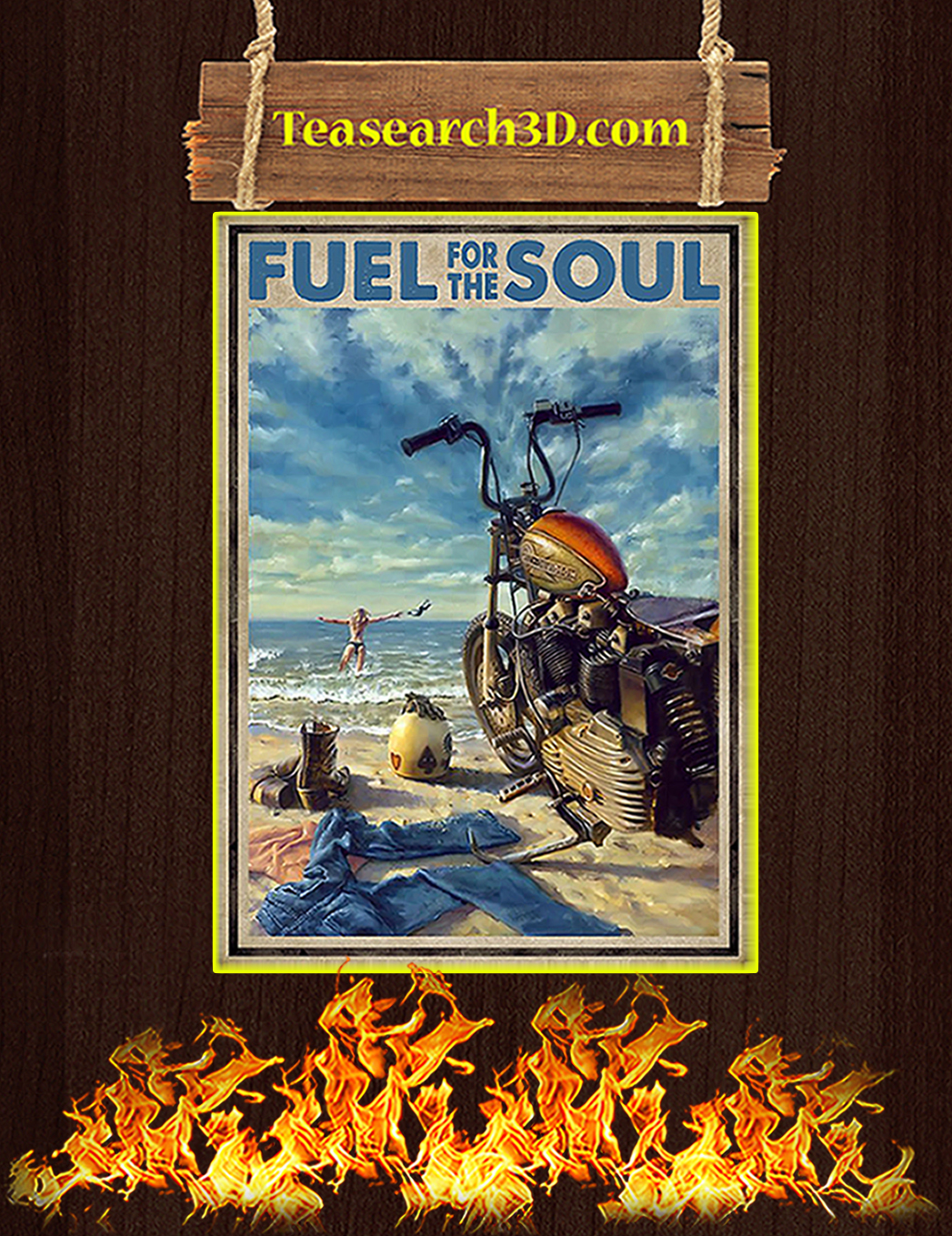 Biker girl fuel for the soul poster A1