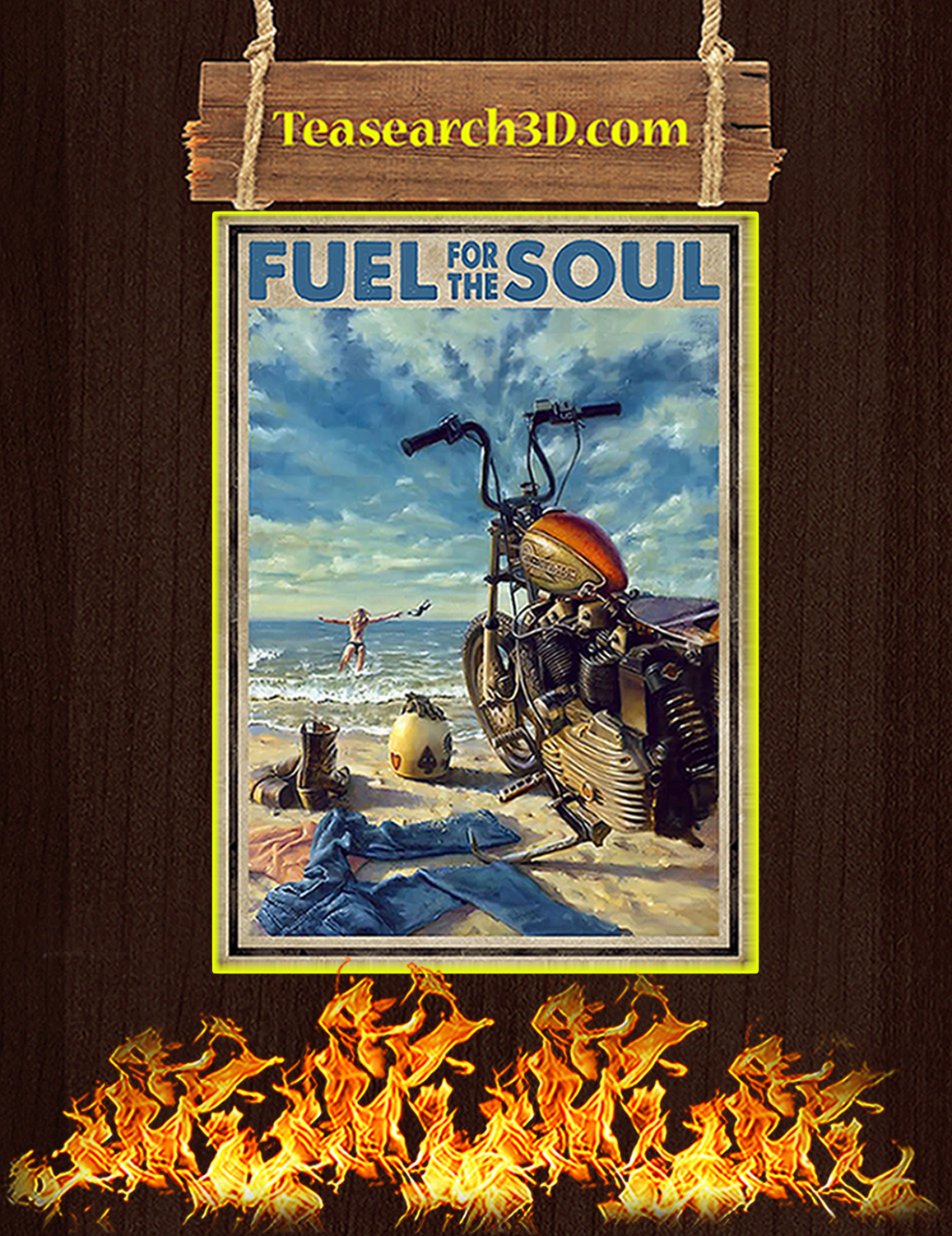 Biker girl fuel for the soul poster A3