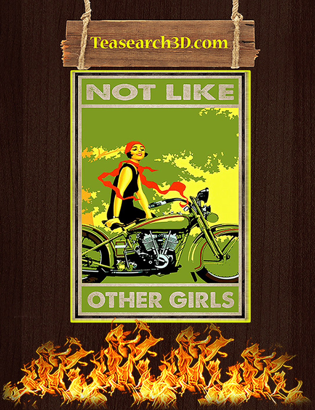 Biker not like other girls poster A2