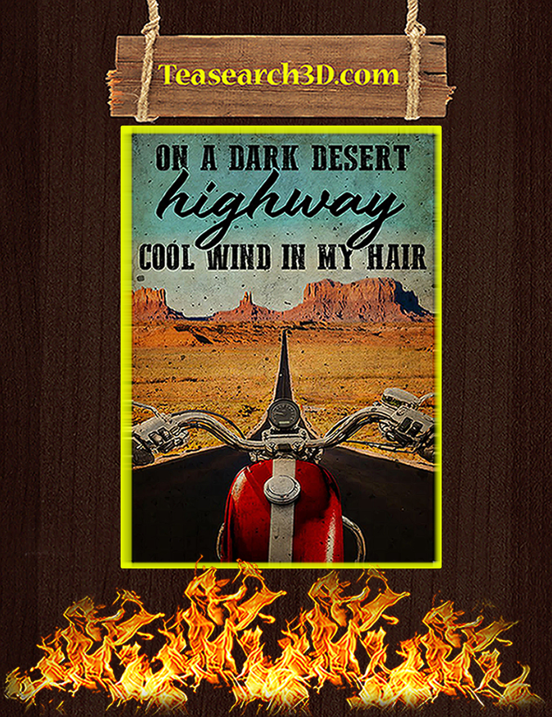 Biker on a dark desert highway cool wind in my hair poster A3