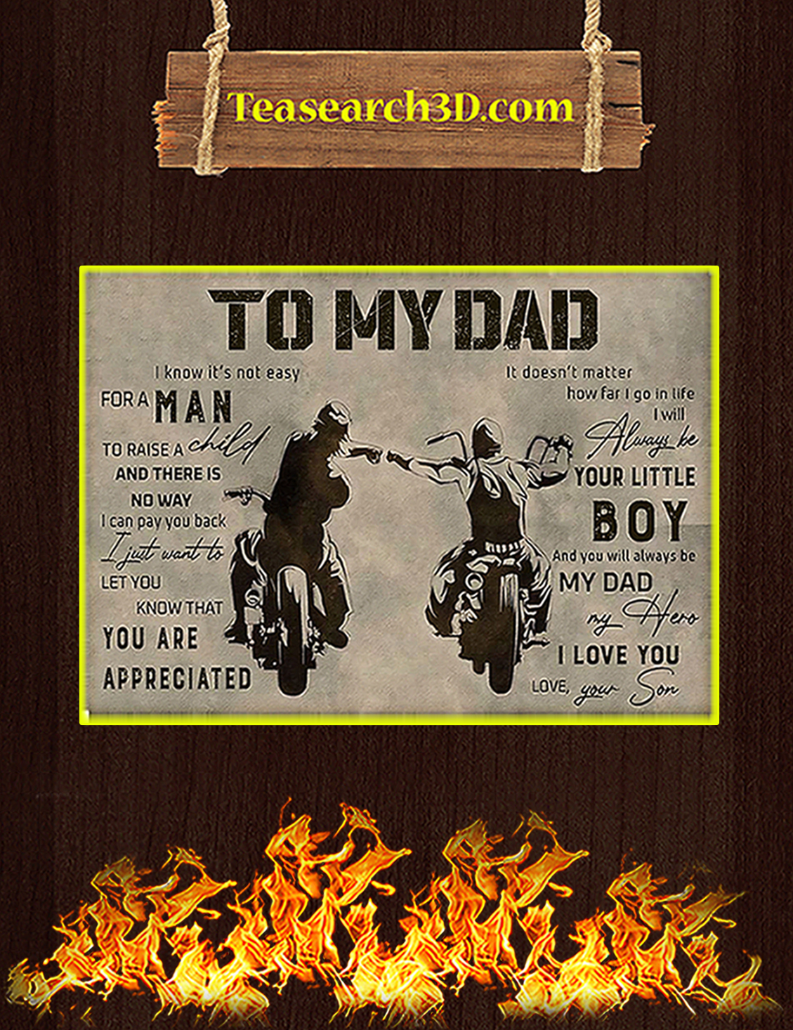 Biker to my dad your son poster A3