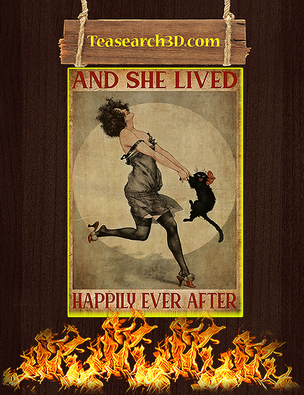 Black cat and she lived happily ever after poster A1