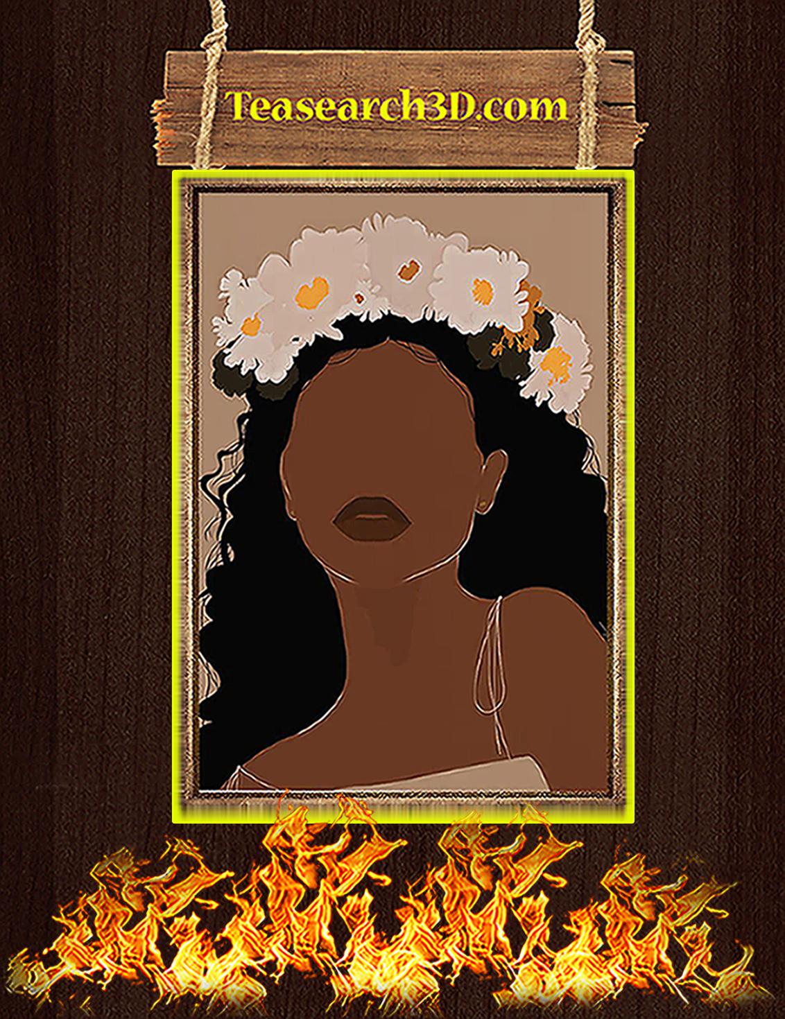 Black girl flower poster A3