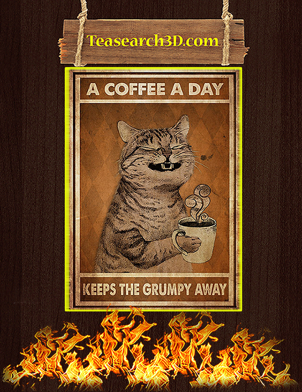 Cat a coffee a day keeps the grumpy away poster A1
