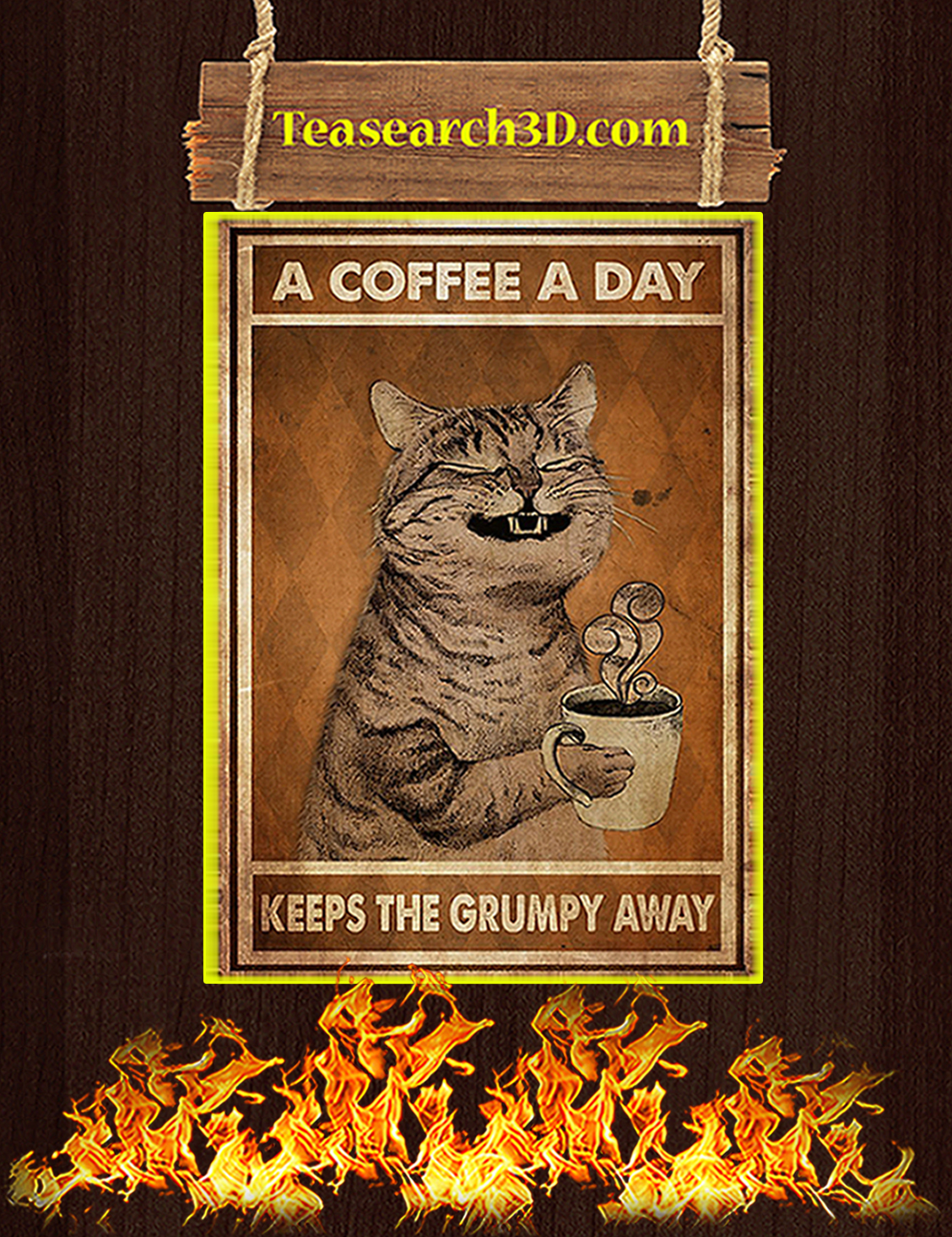 Cat a coffee a day keeps the grumpy away poster A3