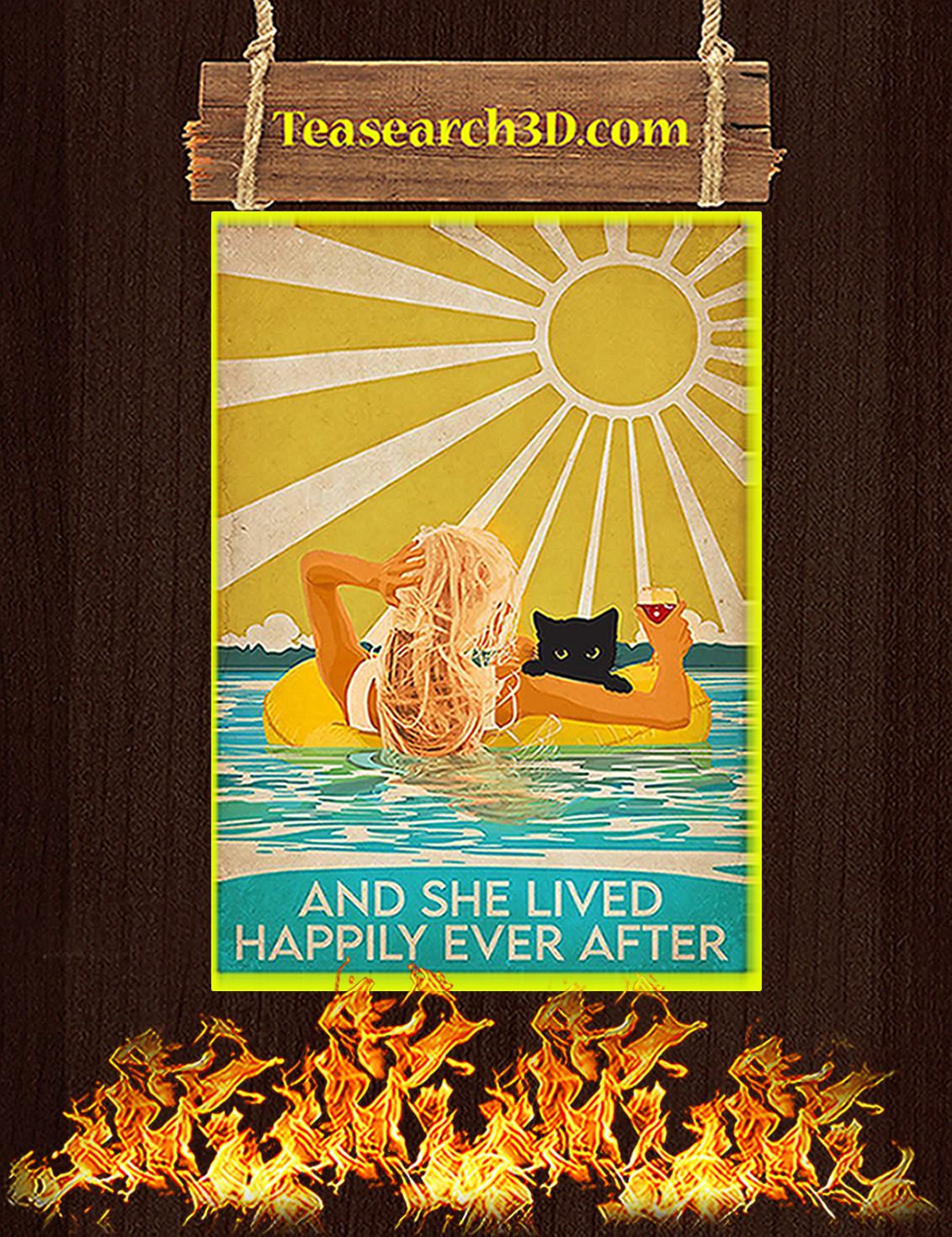 Cat and swimming And she lived happily ever after poster A3
