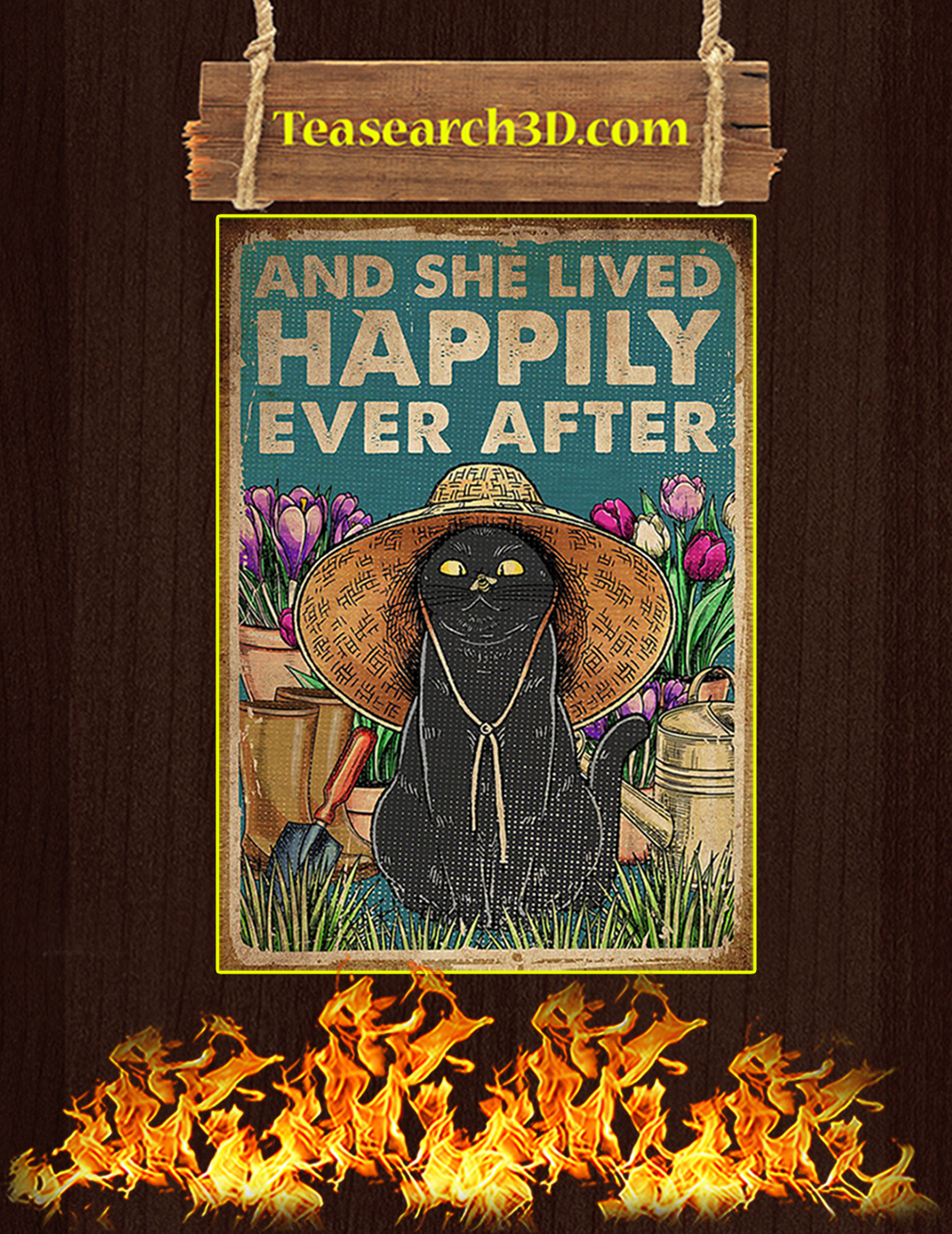 Cat gardening and she lived happily ever after poster A3