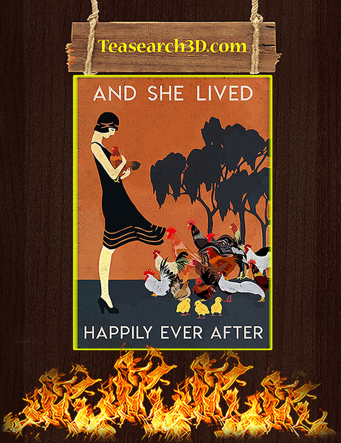 Chicken and she lived happily ever after poster A2