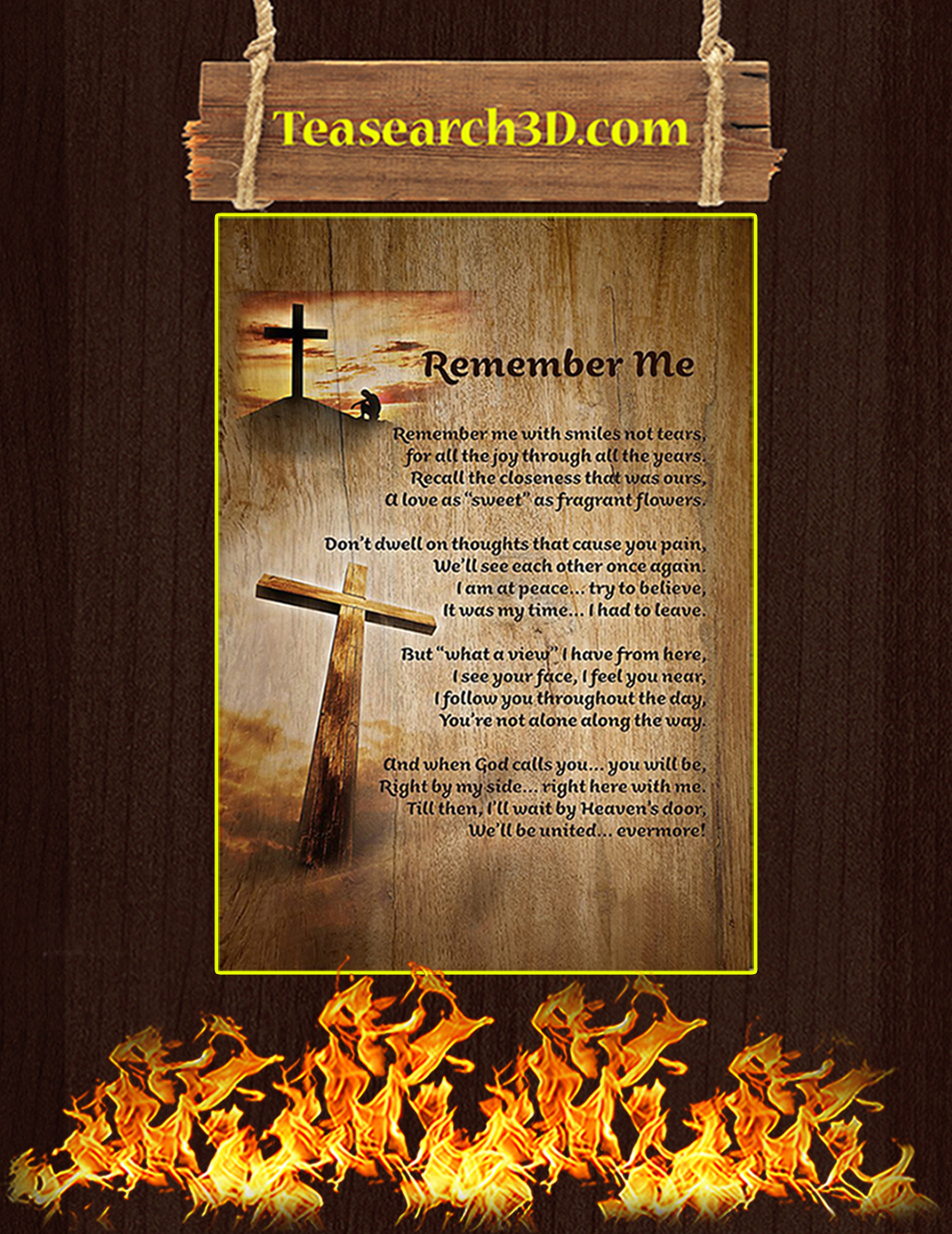 Christian faith cross remember me poster A1
