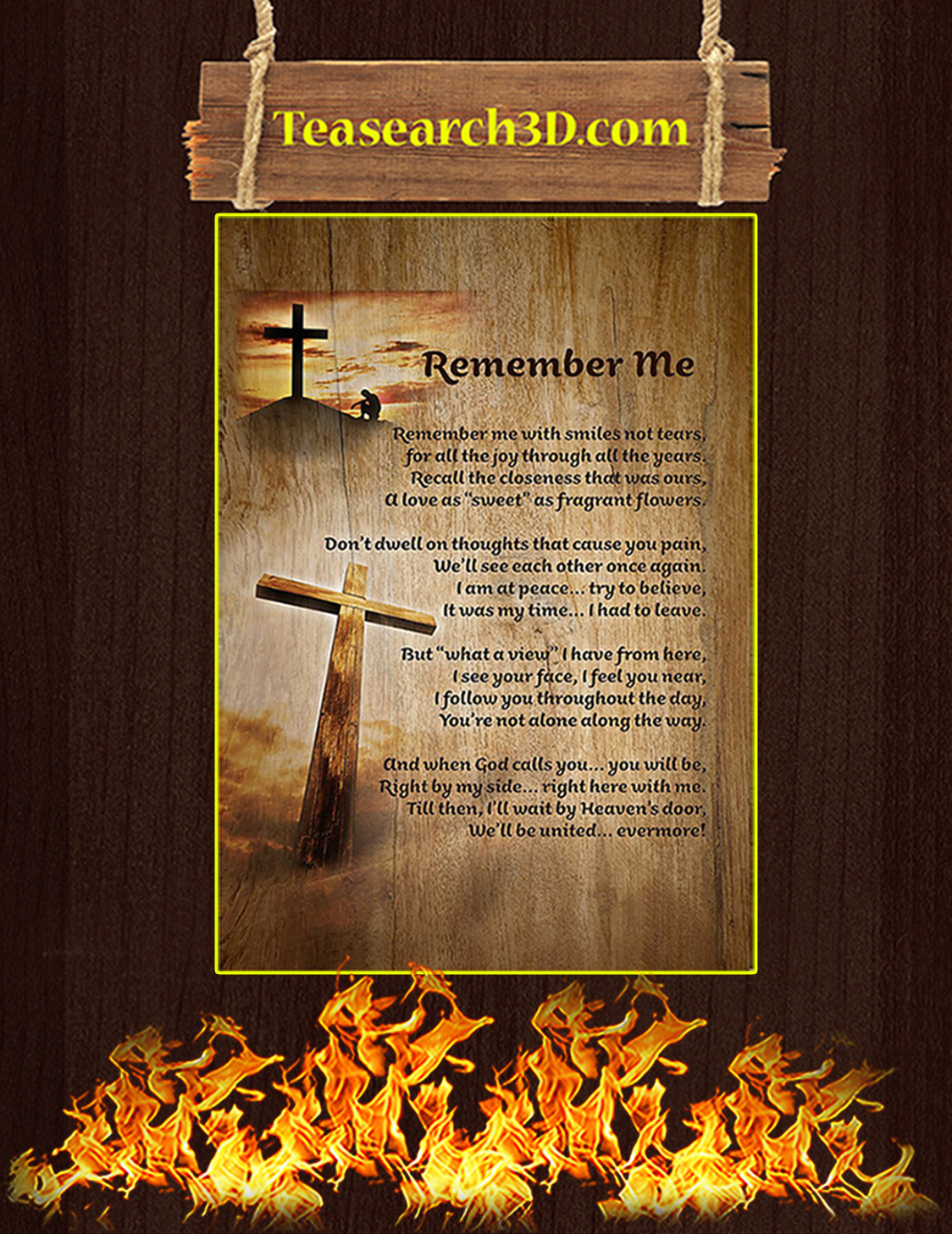 Christian faith cross remember me poster A3