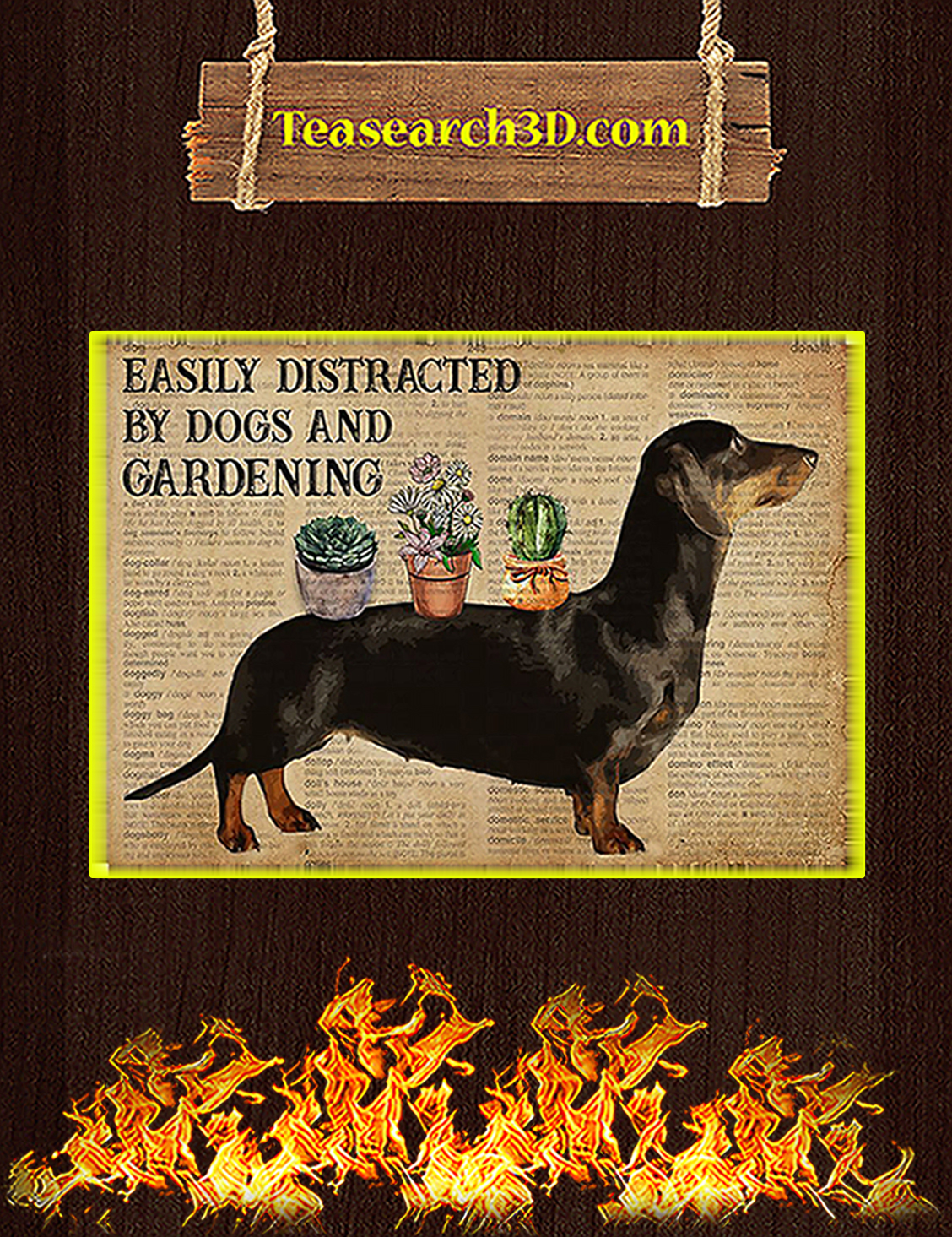 Dictionary easily distracted by dogs and gardening poster A3