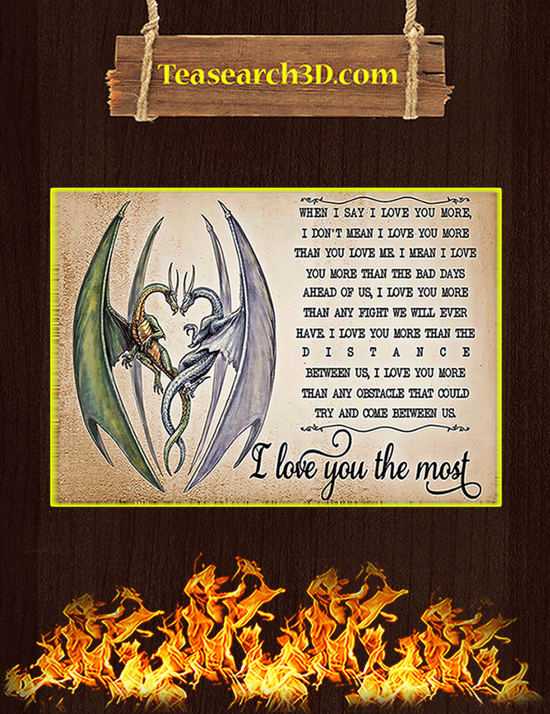 Dragon I love you the most poster A3