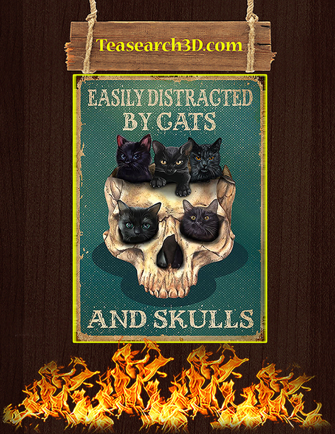 Easily distracted by cats and skulls poster A2