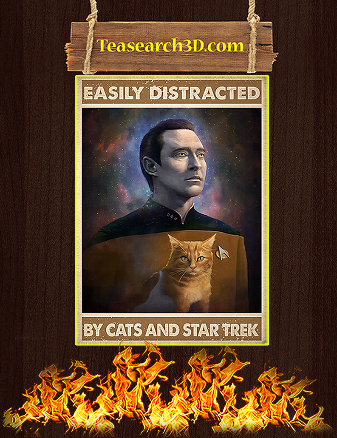 Easily distracted by cats and star trek poster A3