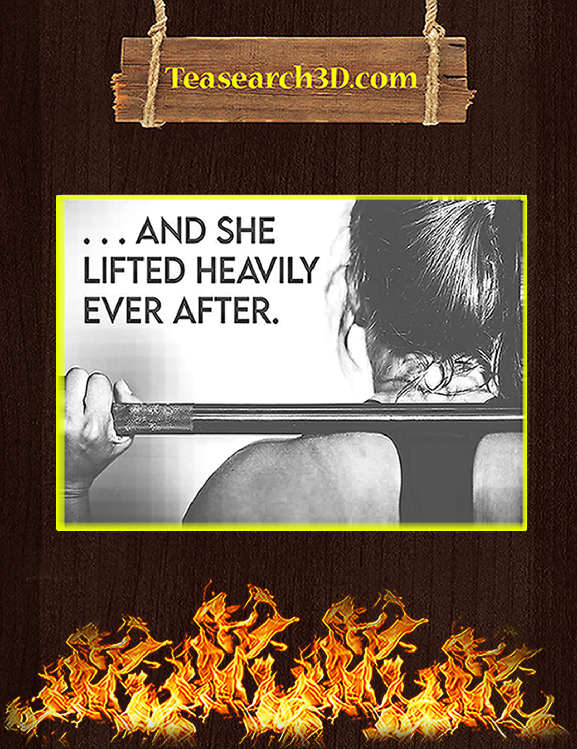 Fitness and she lifted heavily ever after poster A3