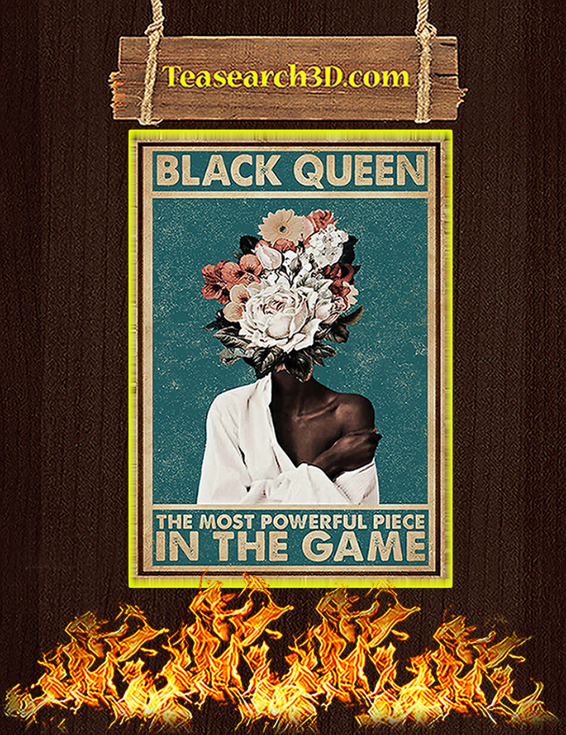 Flower black queen the most powerful piece in the game poster A3