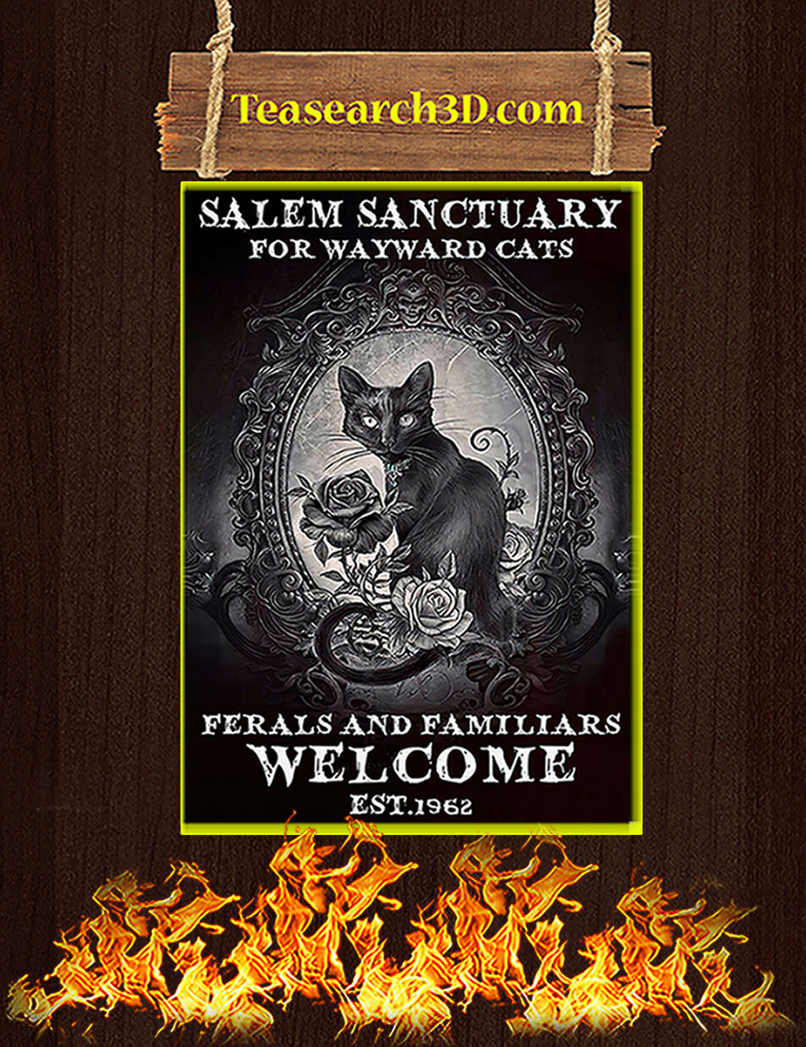 Gothic cat salem sanctuary for wayward cats poster A3