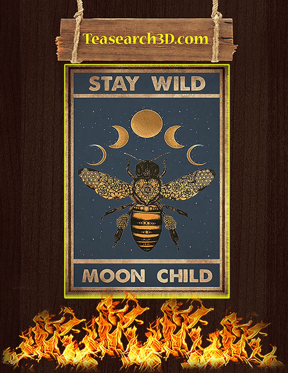 Hippie bee stay wild moon child poster A3