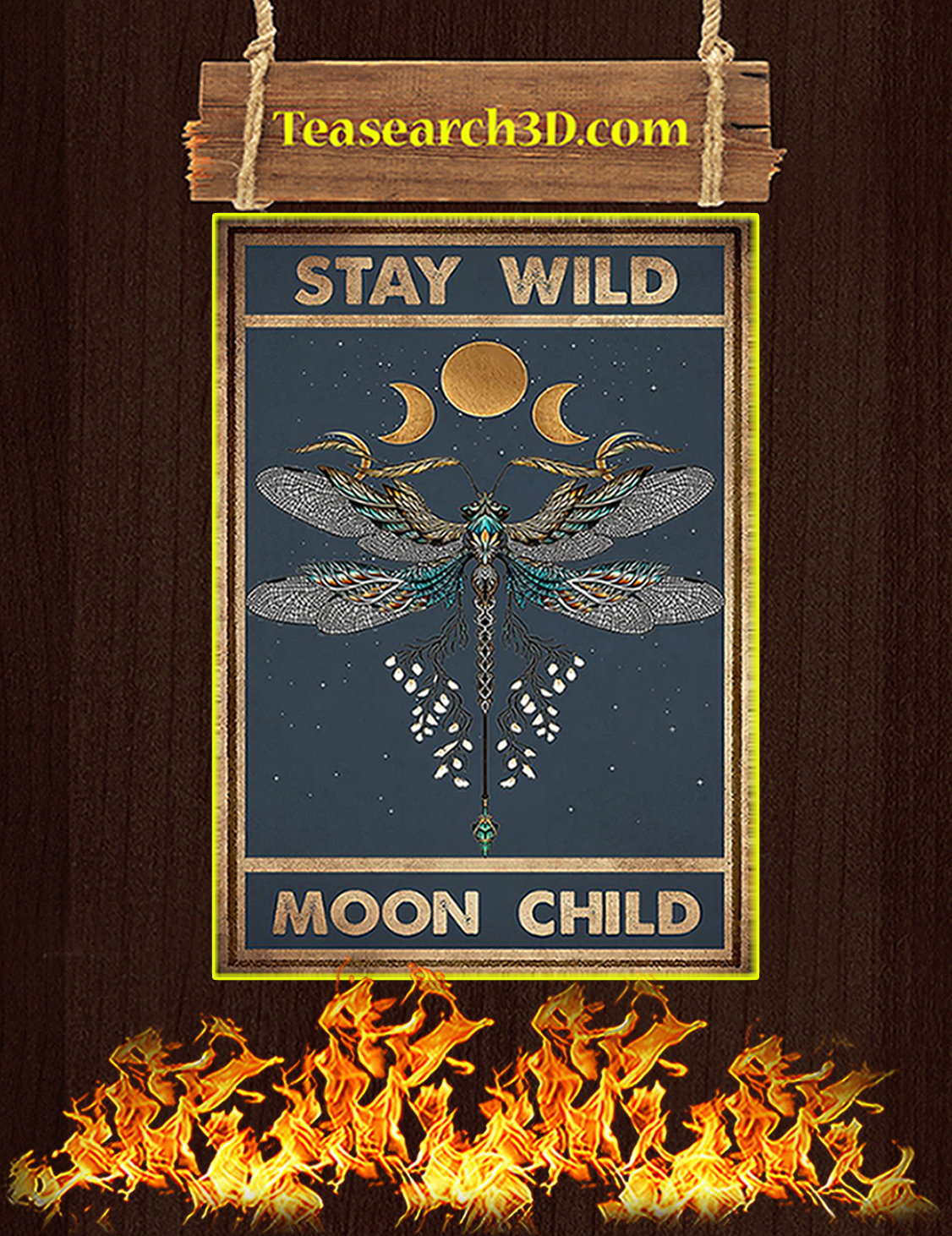 Hippie dragonfly stay wild moon child poster A3
