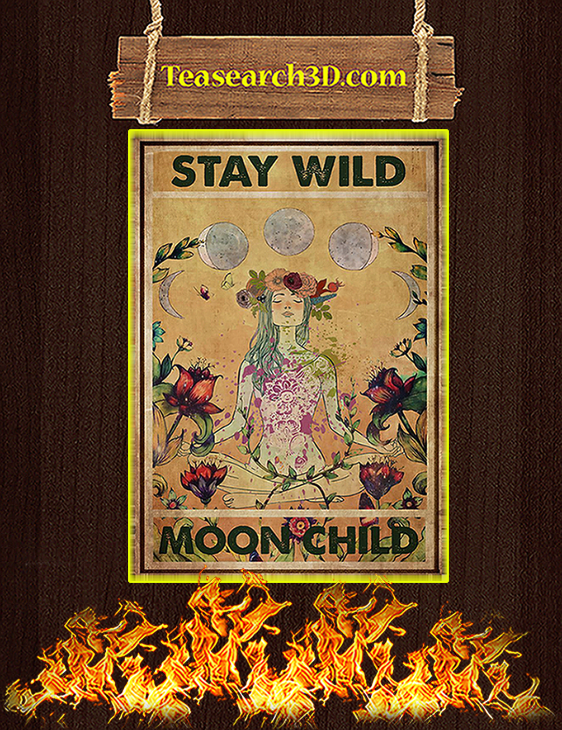 Hippie yoga stay wild moon child poster A3