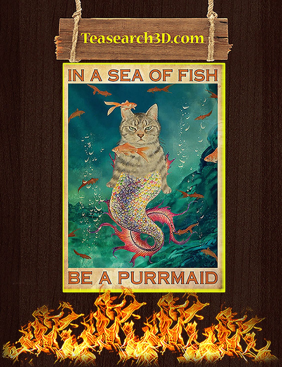 In a sea of fish be a purrmaid poster A3