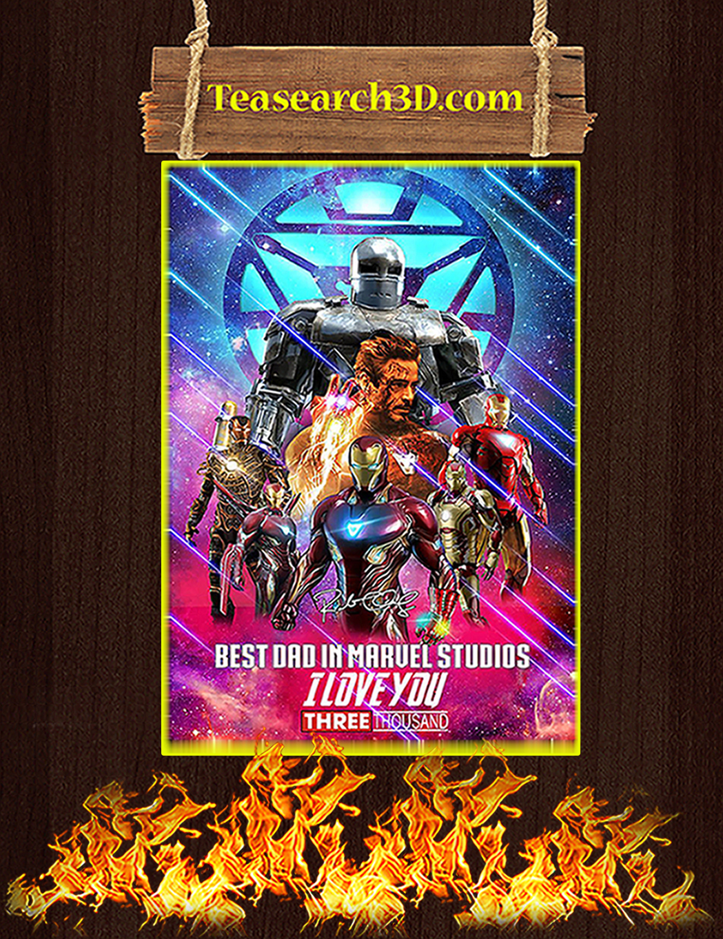 Iron man best dad in marvel studios signature poster A1