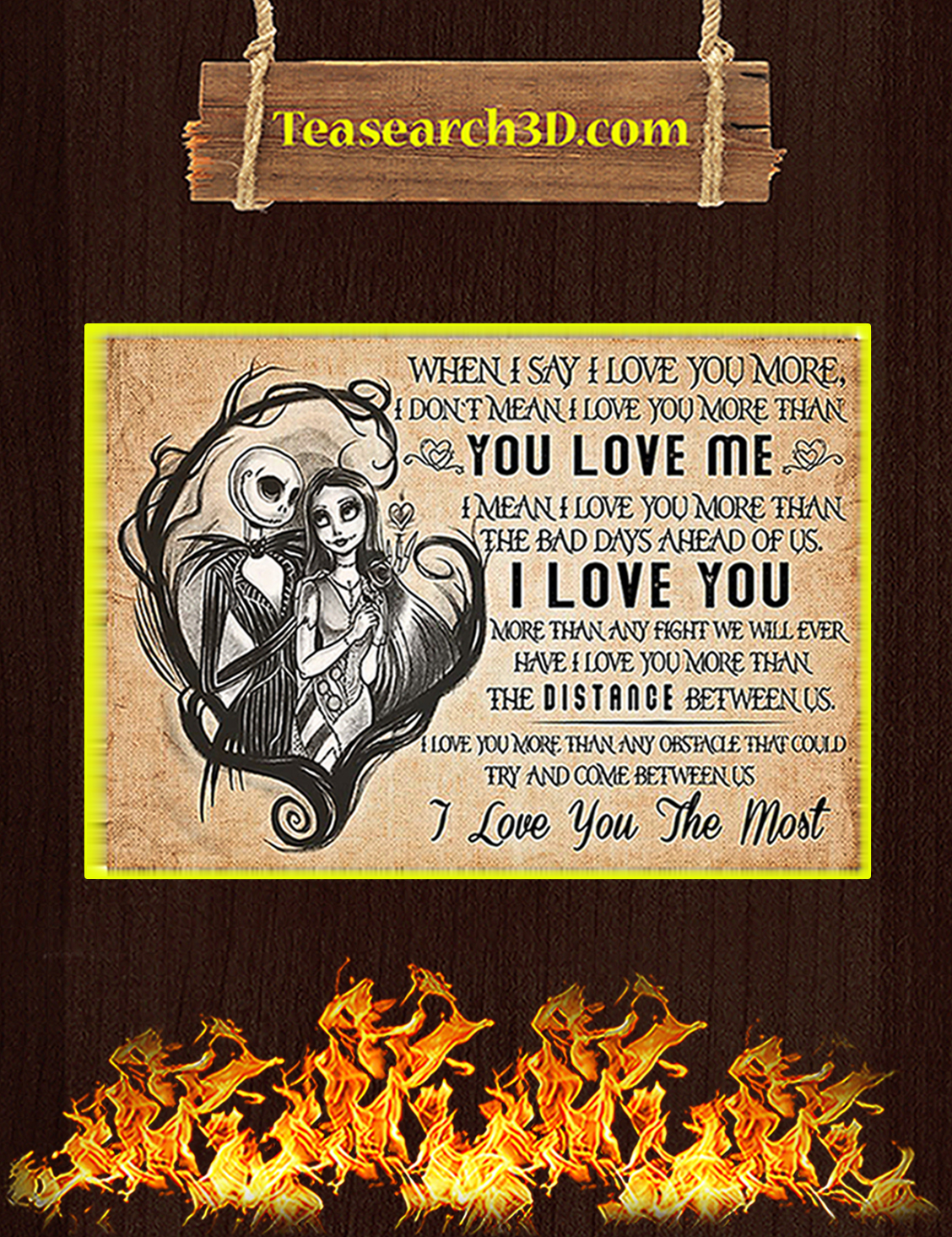 Jack and sally when I say I love you more poster A3