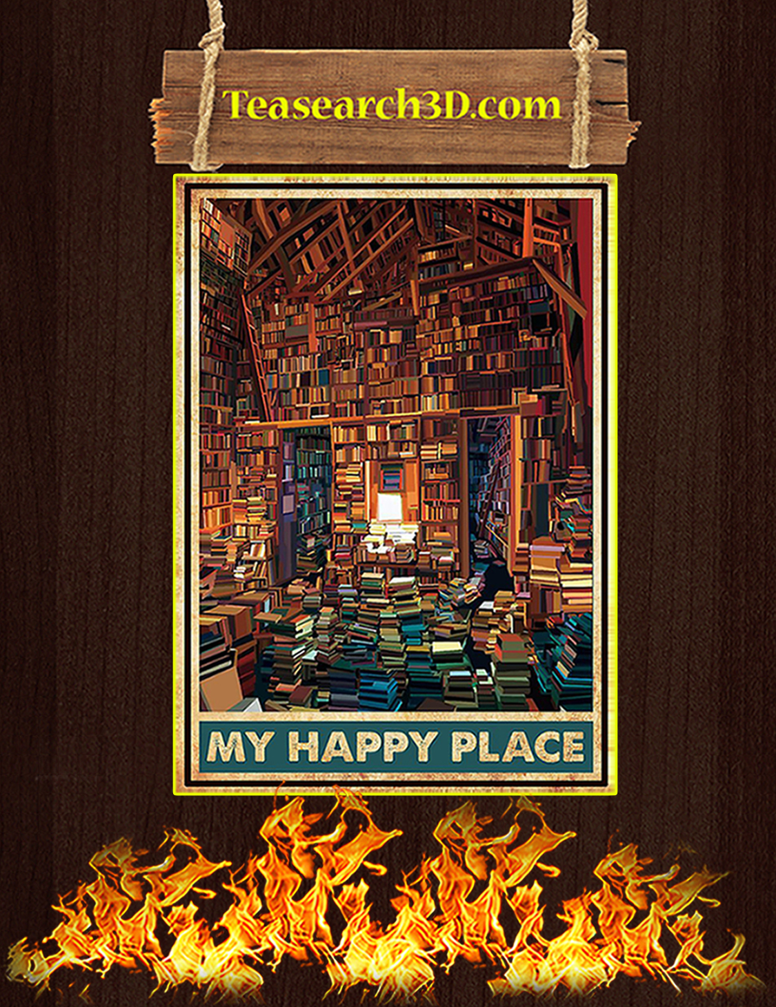 Library books my happy place poster A3